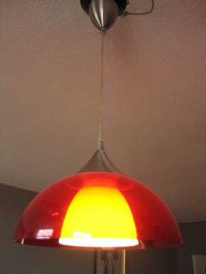 Red retro plastic lamp