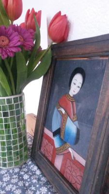 Old painting with chinese woman