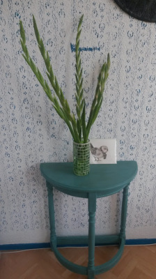 Turquoise 1960's wooden half table