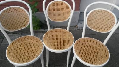 Set of 3 Thonet brand dining chairs