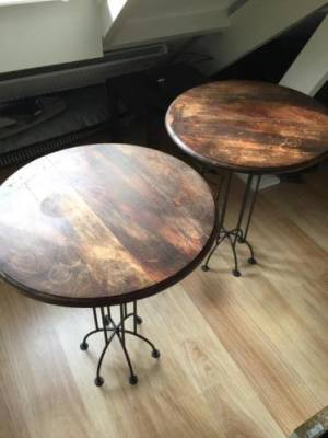 Antique wooden & metal tables