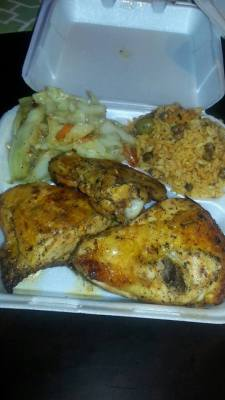 Roasted Chicken, Cabbage & Spanish rice with Peas