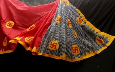 Applique work cotton saree