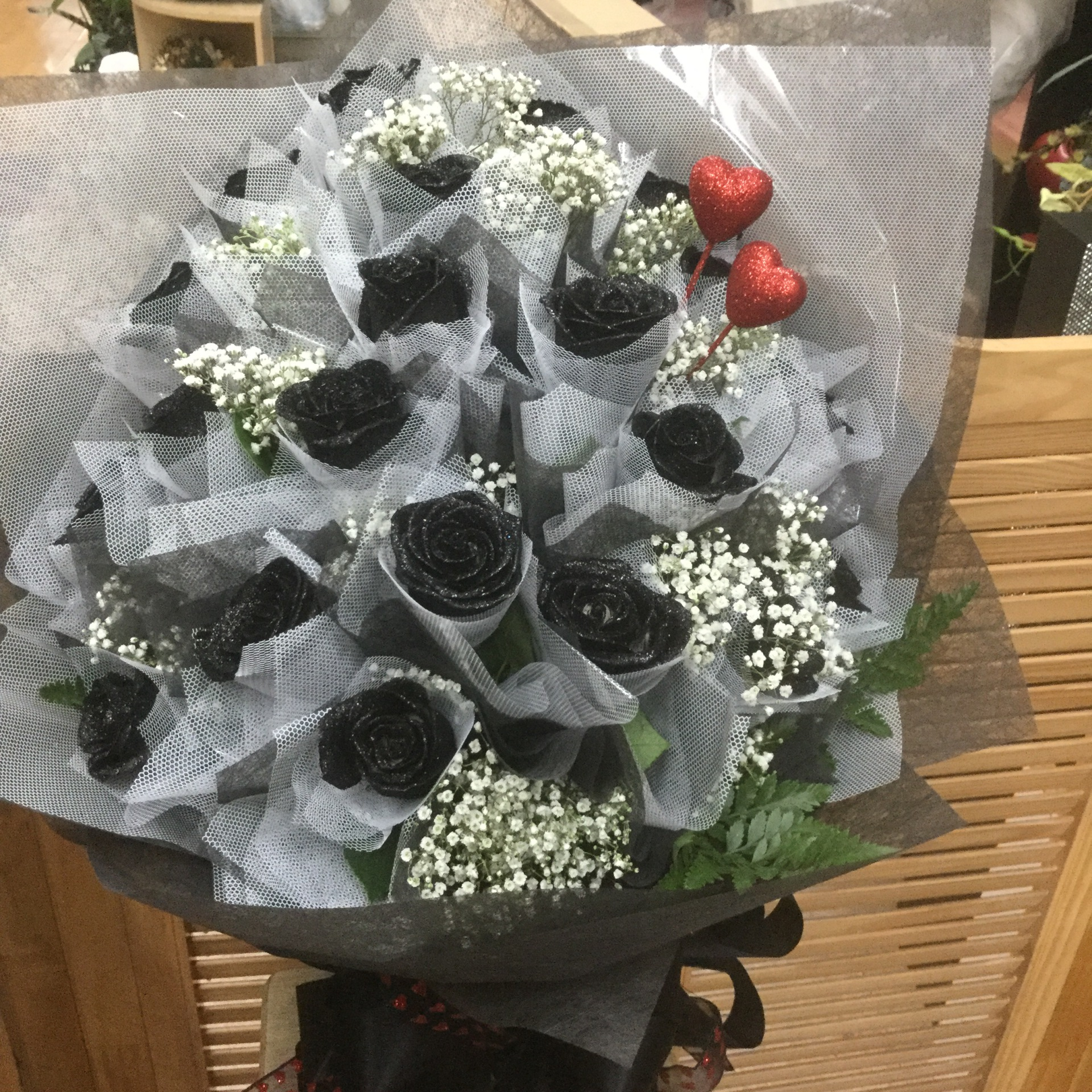 Two Dozen Black Glittered Roses - Fancy Wrap Bouquet