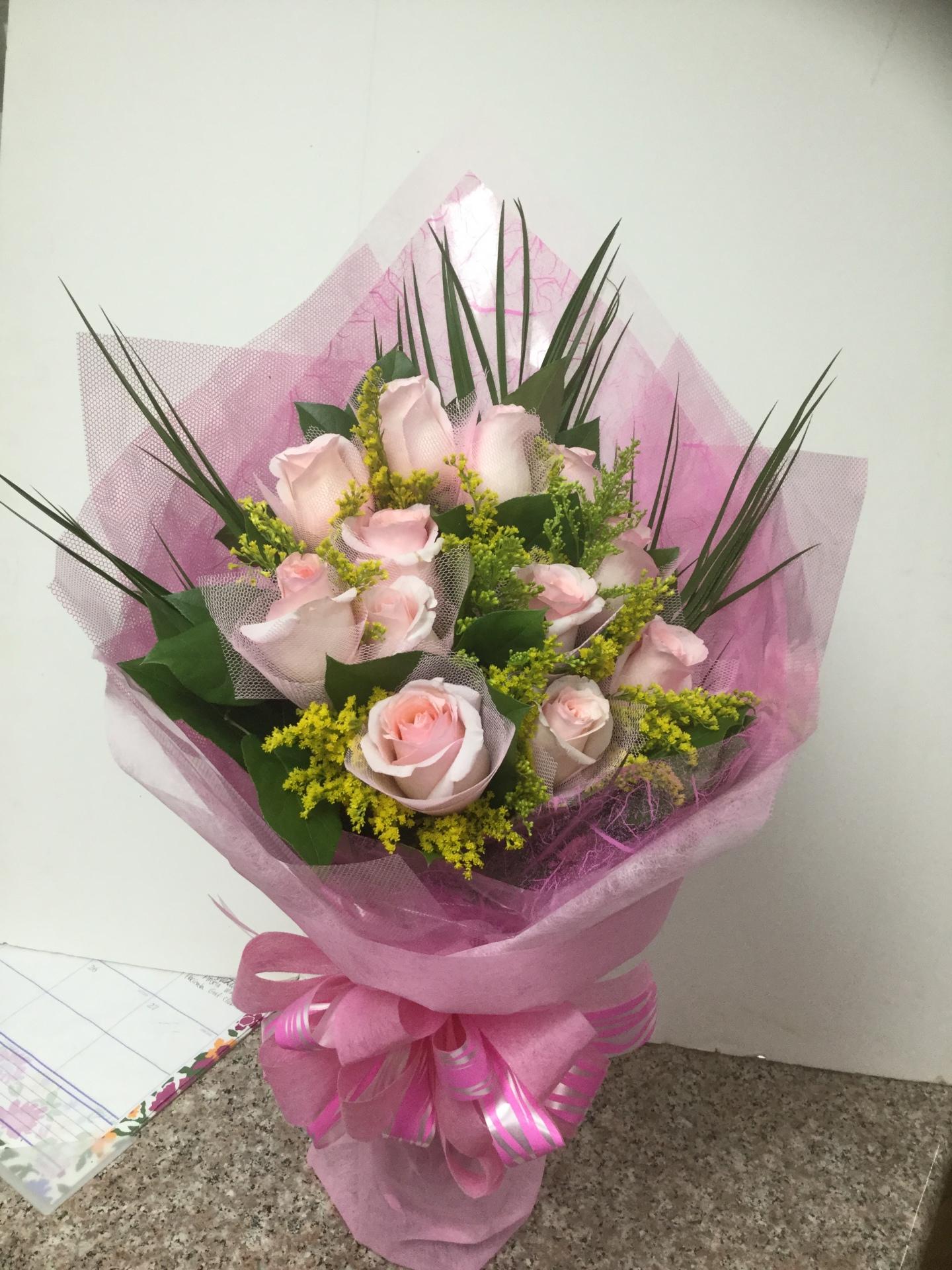 Dozen Pink Roses - Custom