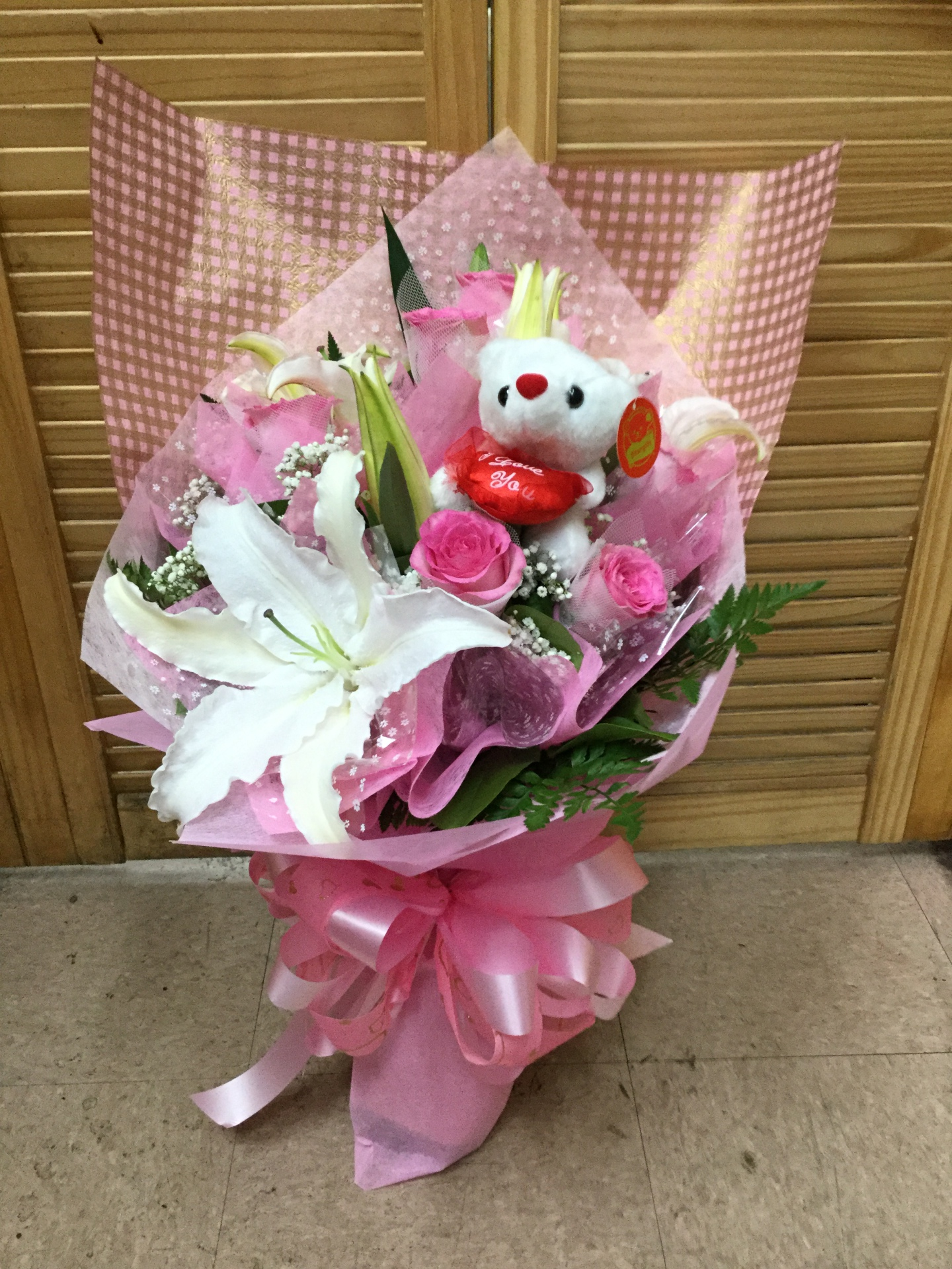 Rose and Lily Bouquet w/ Teddy Bear