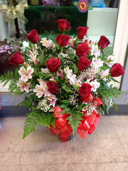 One Dozen Roses In A Vase with Alstroemeria