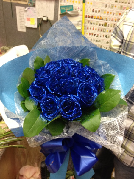 One Dozen Glittered Blue Roses - Custom