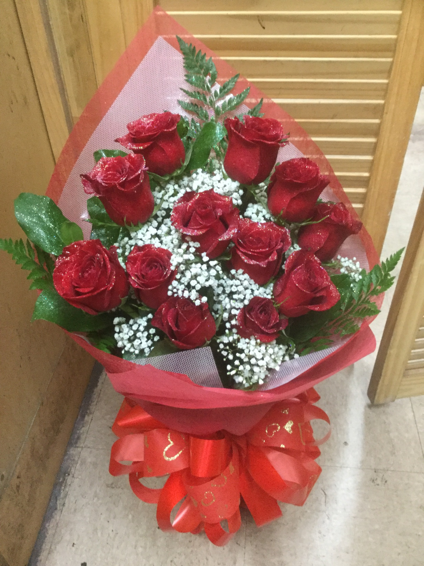 One Dozen Red Roses - Simple Wrap Bouquet