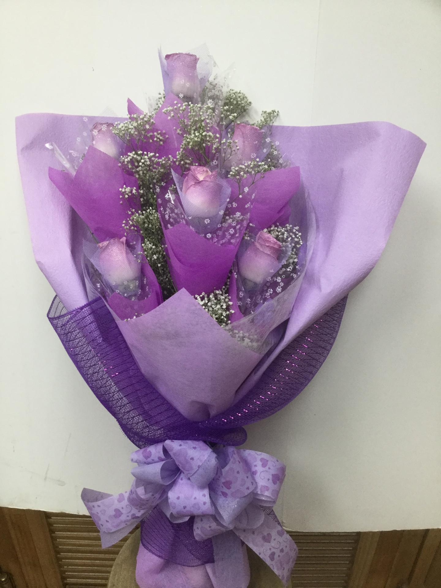 Half Dozen Tinted Roses - Flat HK Wrap Bouquet