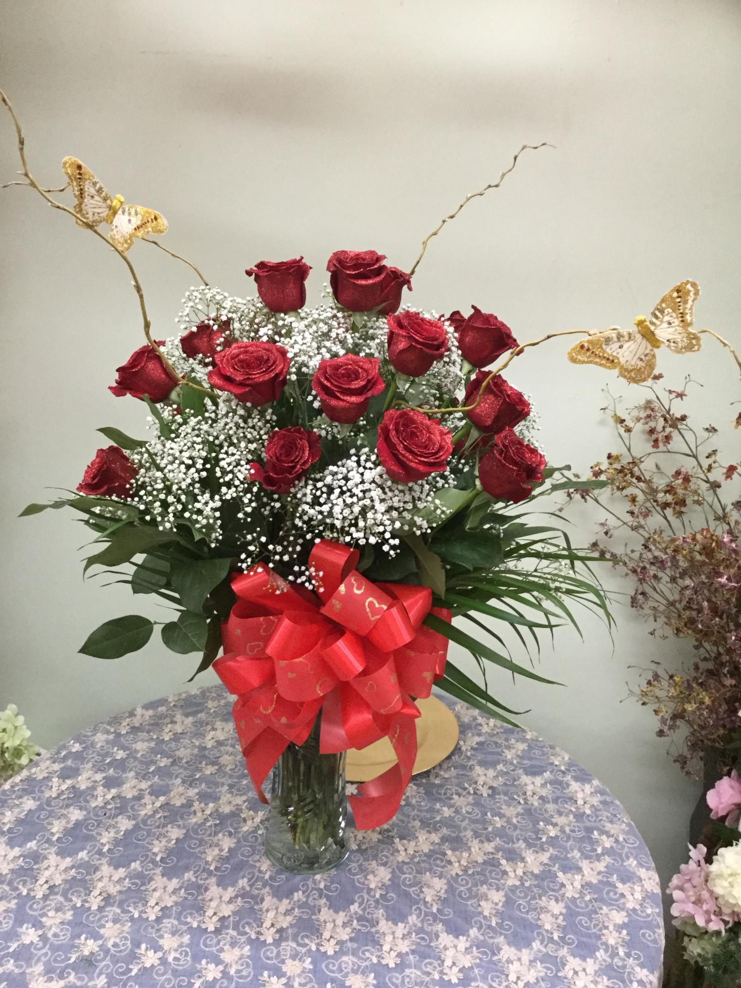 Eighteen Glittered Red Roses - Arrangement in Vase
