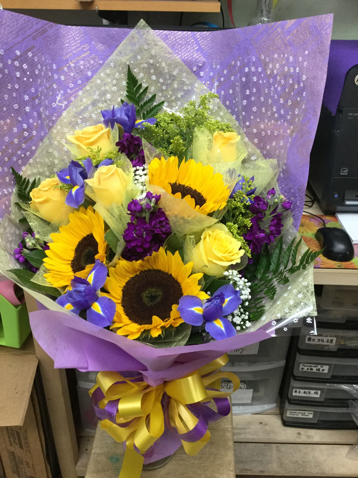Mixed Wrap Bouquet with Sunflowers