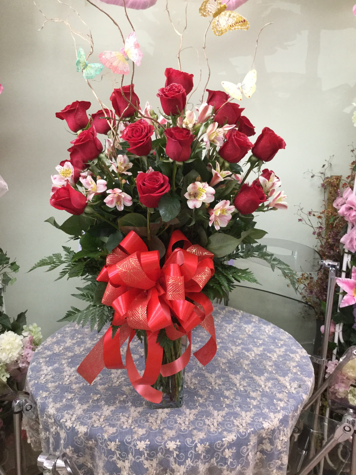 Eighteen Red Roses with Alstroemeria - Arrangement in Vase
