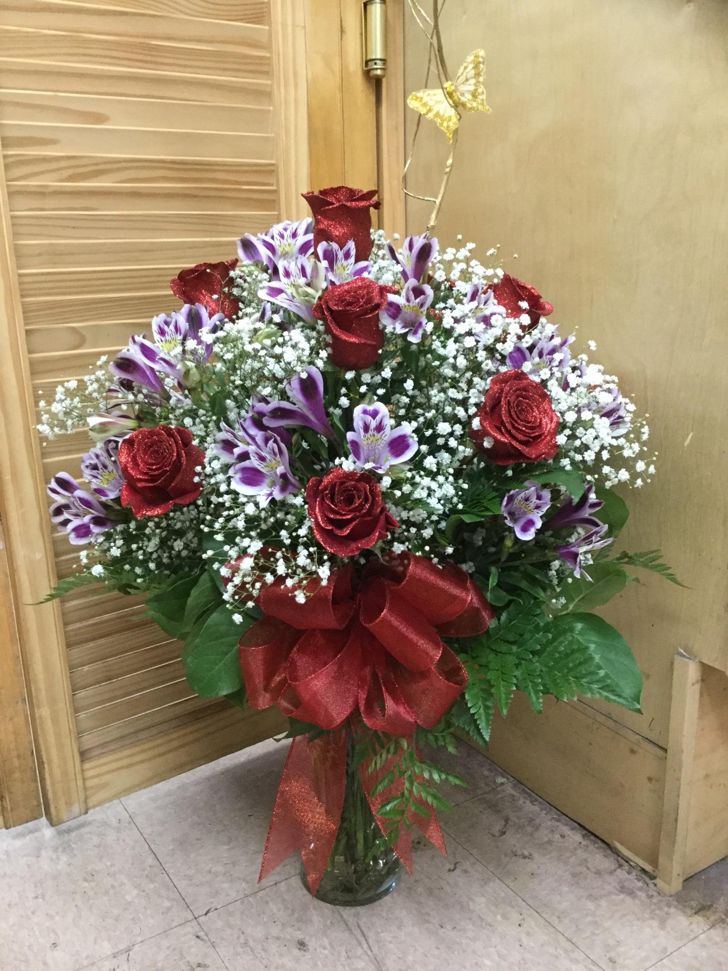 One Dozen Red Roses with Alstroemeria - Arrangement In Vase