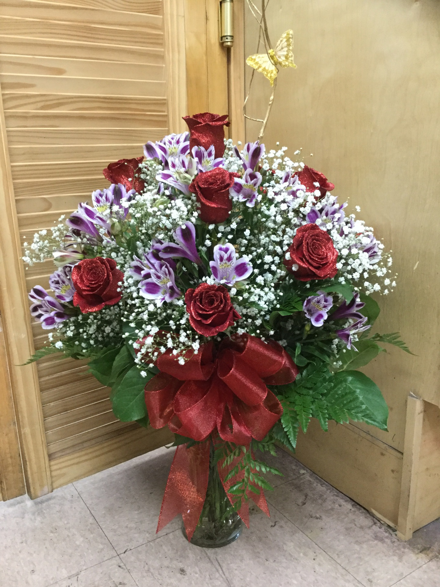 One Dozen Red Roses with Alstroemeria - Arrangement In Vase