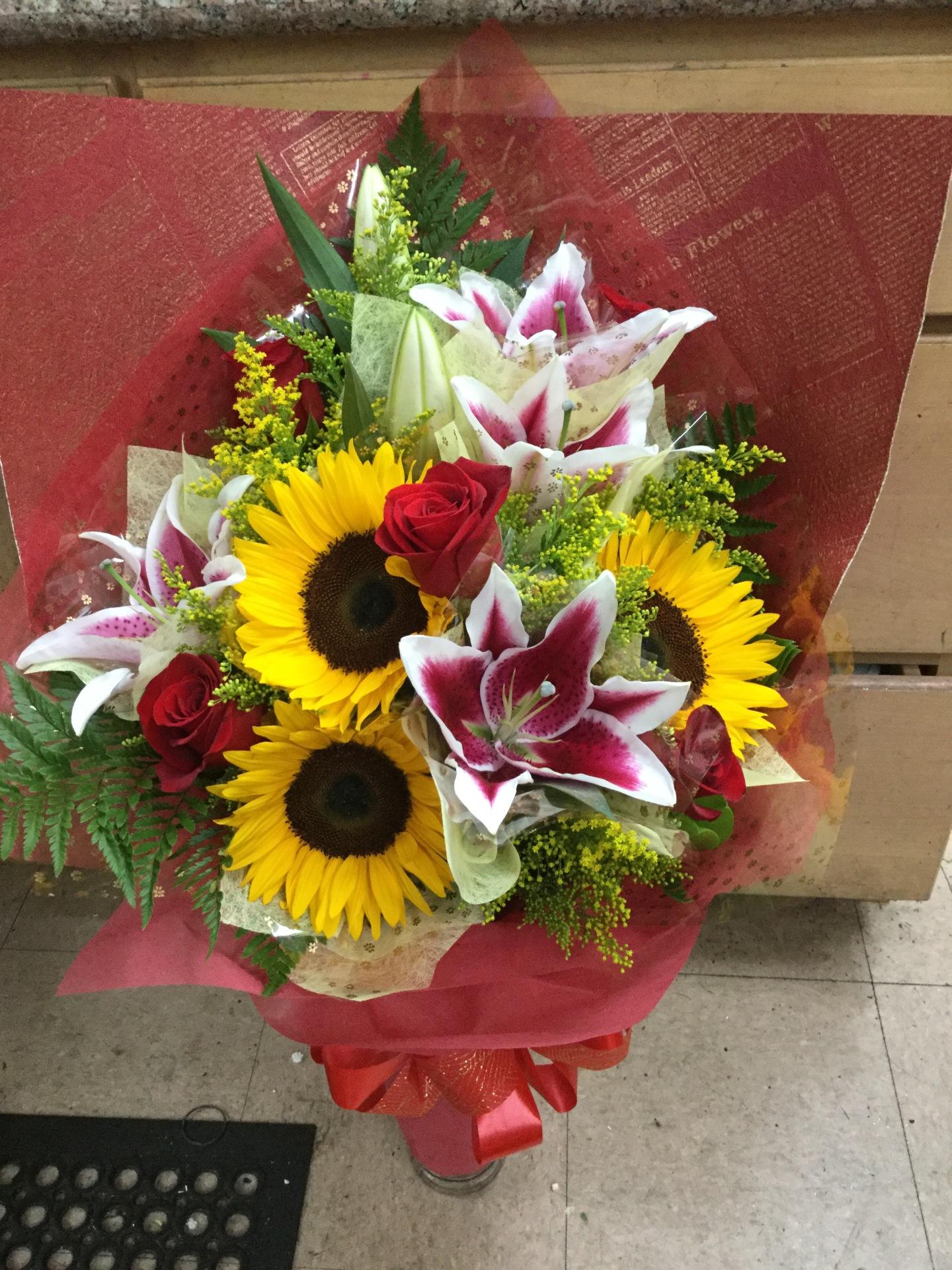 Lily & Sunflower Wrap Bouquet