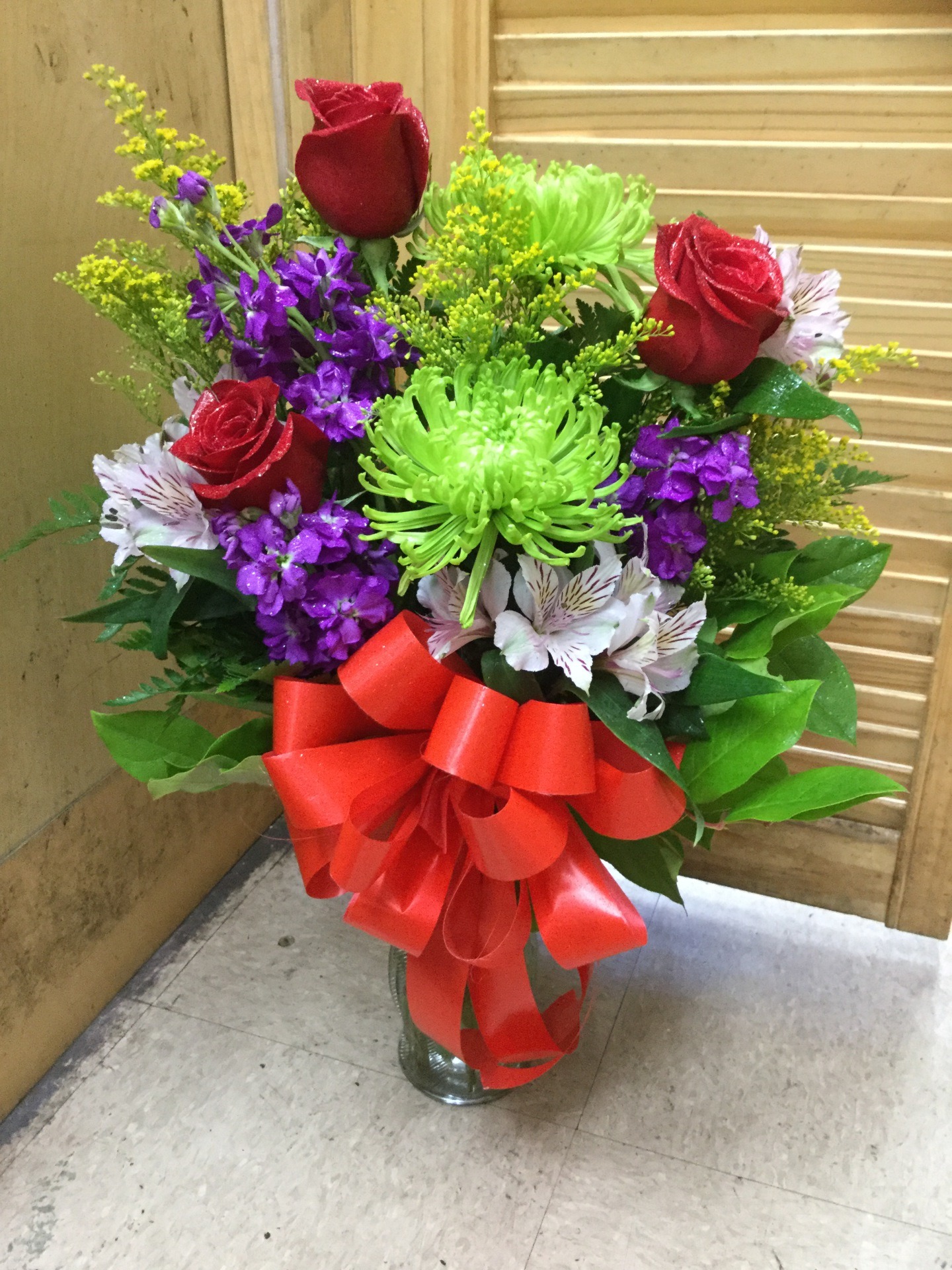 Mixed Flower Arrangement In Vase