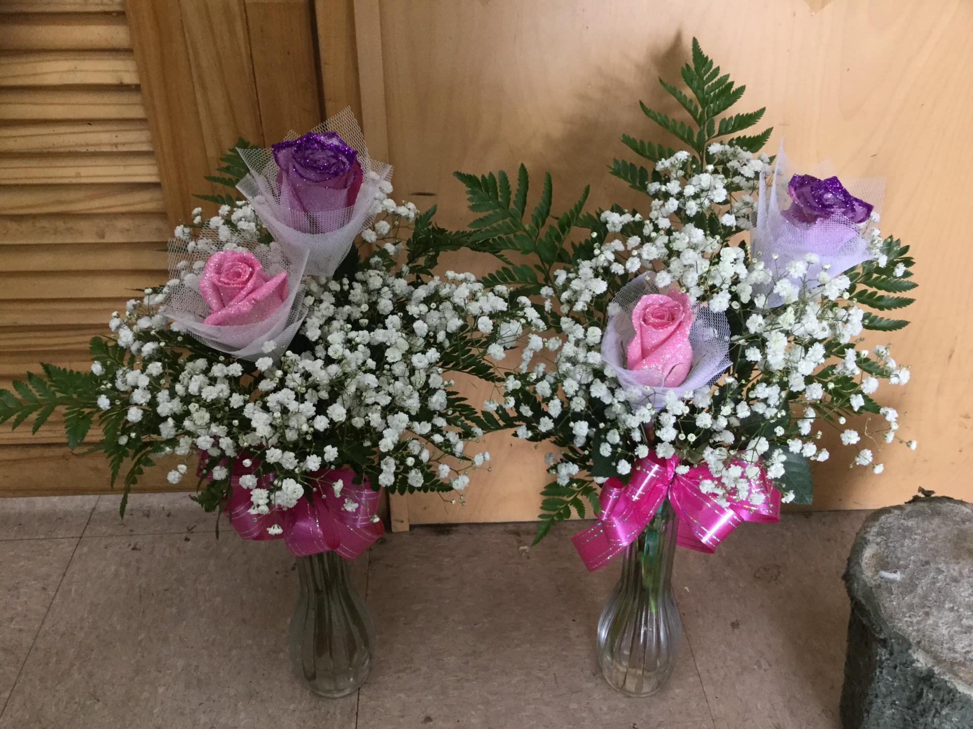 Tinted Glittered Rose Bud Vases