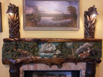 History of Florida fireplace mantle