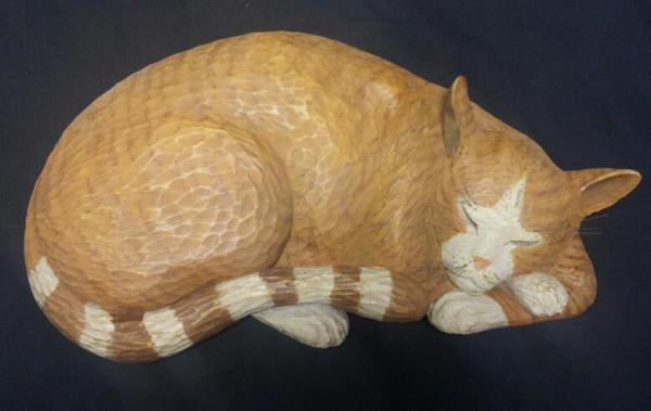 carved cat,cat art,paint a cat,