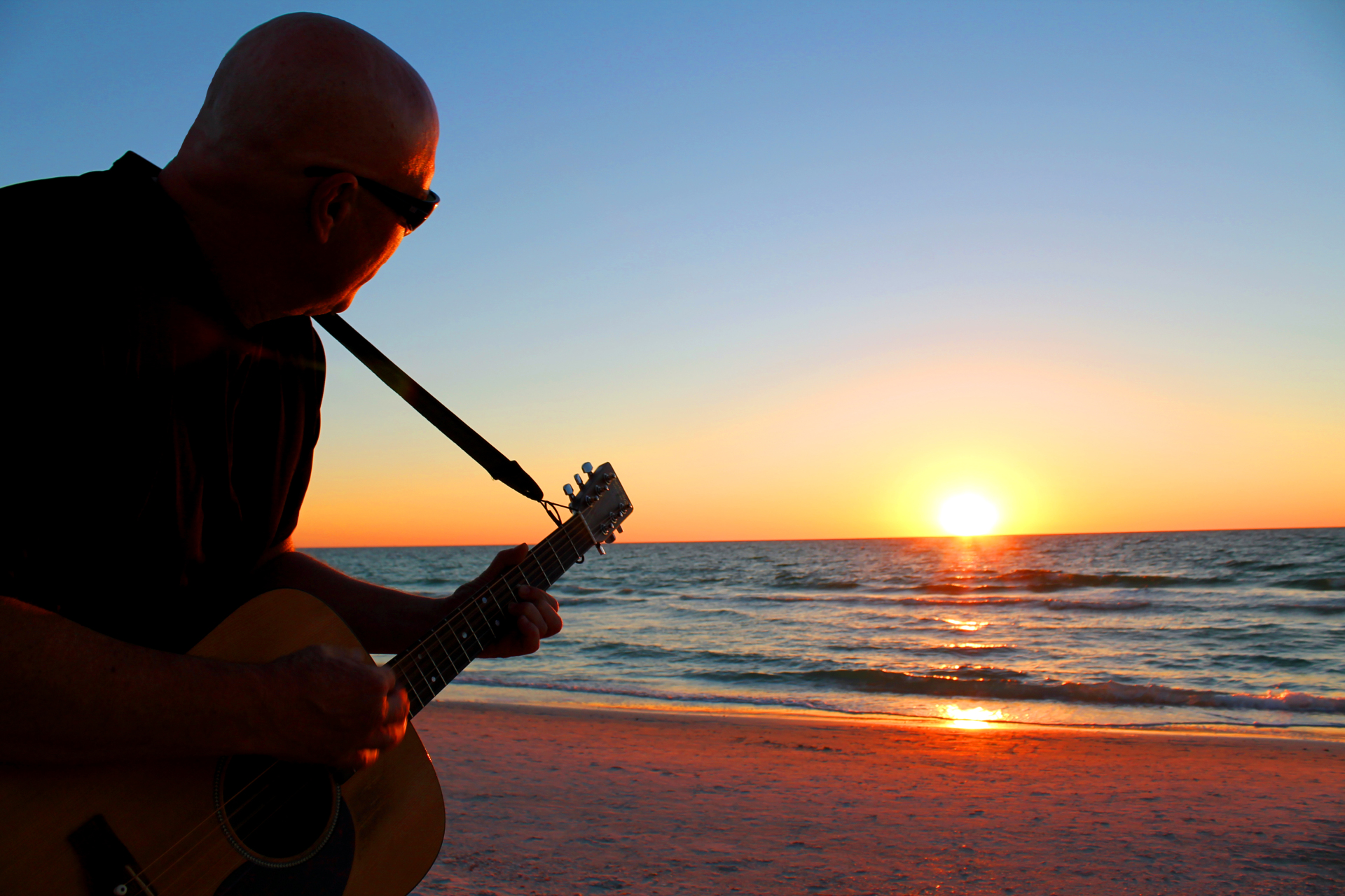 Michael and Guitar on Pass-a-Grille Beach