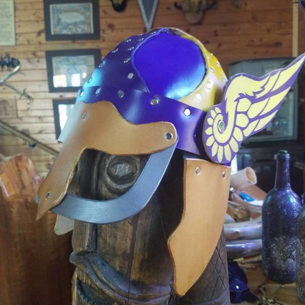 Leather Winged Minnesota Viking Helmet
