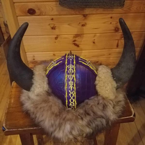 Purple Dragonskin Viking Helmet (Buffalo Horns)