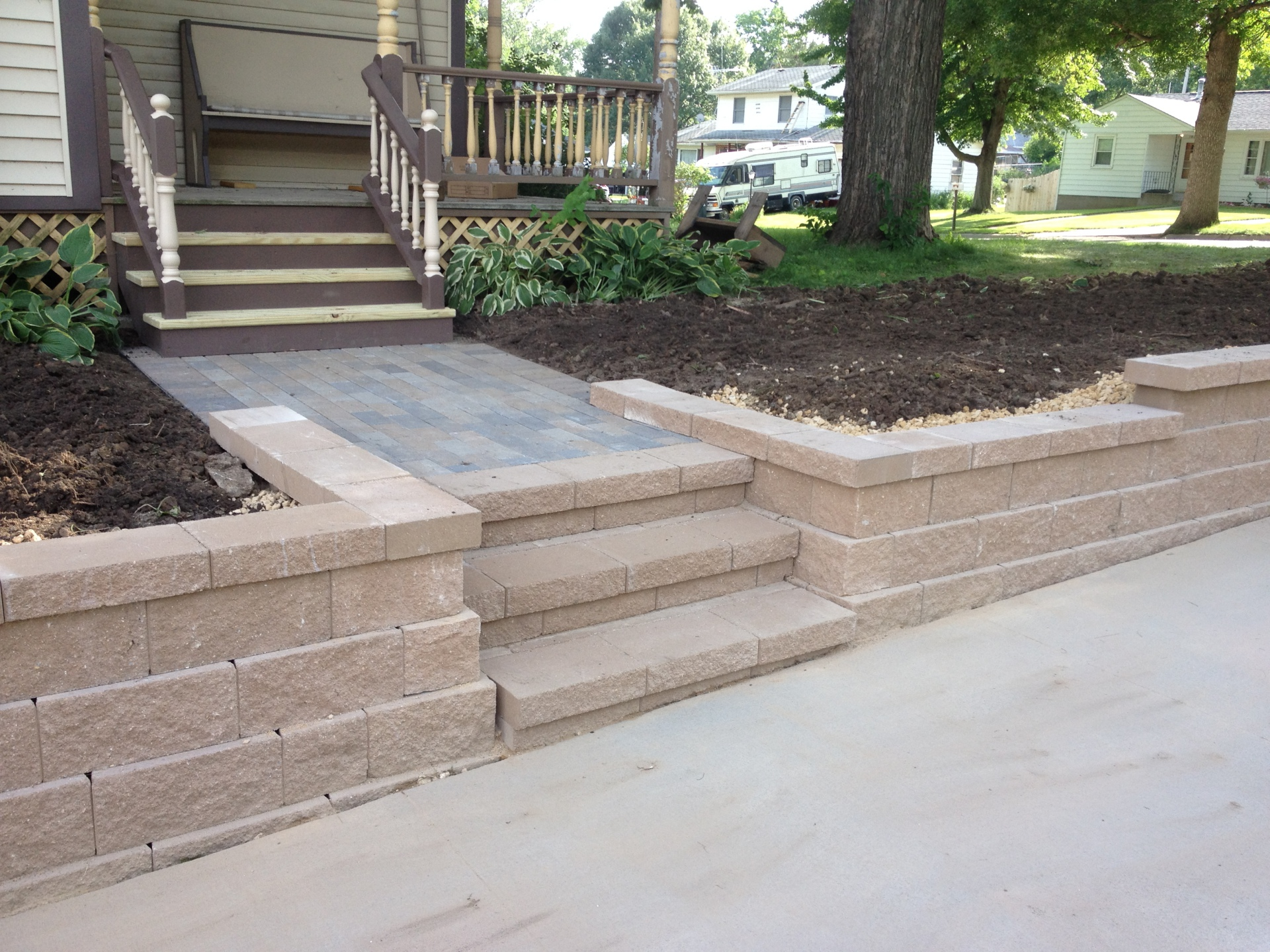 paver walk, steps and wall