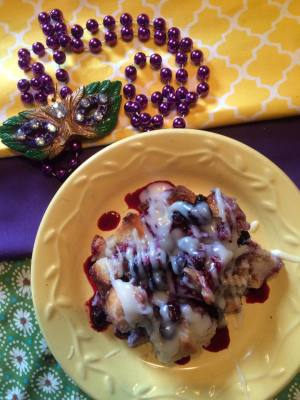 Mardi Gras Blueberry Bread Pudding