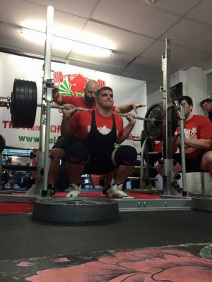 Tommy PB squat at Dave's gym in Cardiff