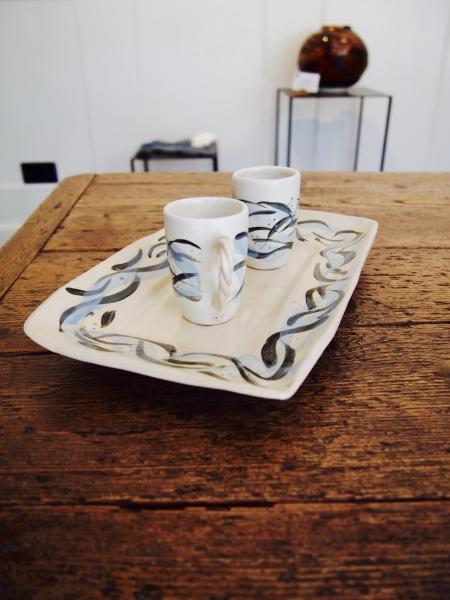 British Ceramic art espresso cups West Coast Saundersfoot Pembrokeshire Ceramic Art Richard Prentice Blackbird Ceramics Naomi Tydeman Coast Restaurant Penally Abbey St Brides Spa Hotel The Grove Narberth Welsh Wales Ceramic Art Studio Pottery