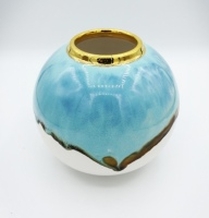 Turquoise and Gold Sea Globe Richard Prentice Pembrokeshire Ceramic Artist Studio Potter Saundersfoot Tenby Naomi Tydeman Ceramics review Fine ArtThe Grove Narberth Penally Abbey Coast Coppett Hall West Coast Designs Coastal Ceramics