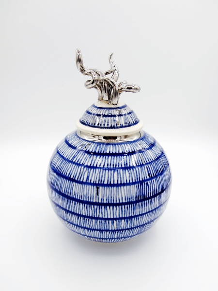 British ceramic artist Sea Globe Urn West Coast Saundersfoot Pembrokeshire Ceramic Art Richard Prentice Blackbird Ceramics Naomi Tydeman Coast Restaurant Penally Abbey St Brides Spa Hotel The Grove Narberth Welsh Wales Ceramic Art Studio Pottery