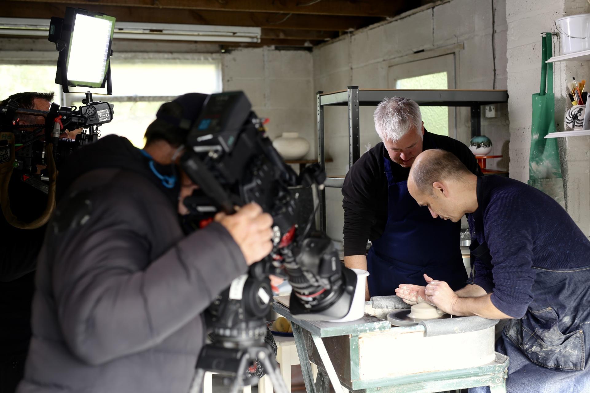 British Ceramic artist pembrokeshire studio pottery weatherman walking derek brockway filming BBC Wales
