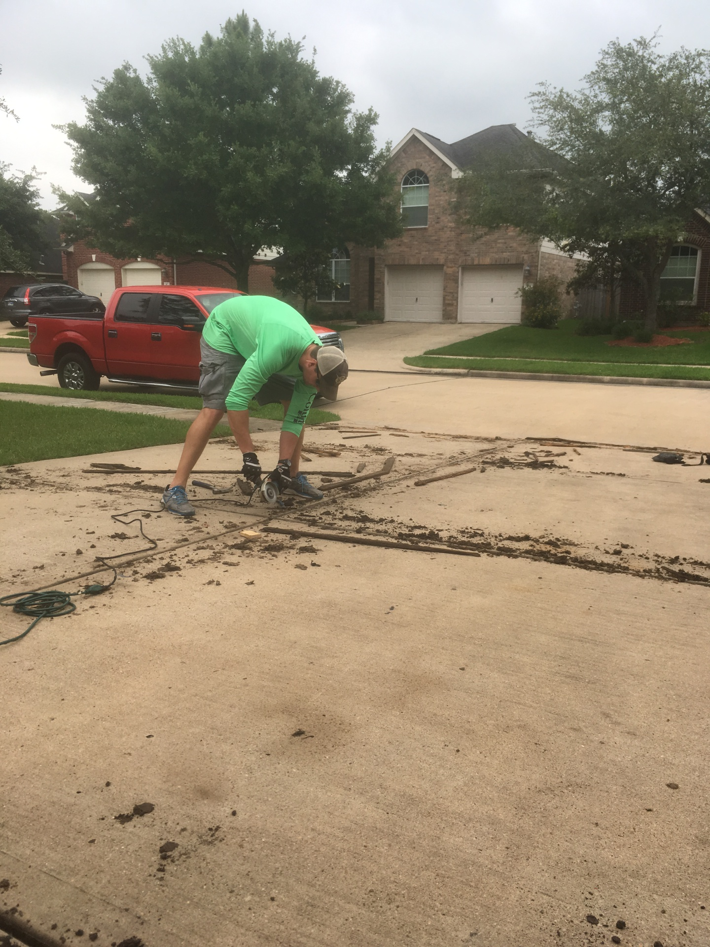 Expansion gap preparation for install of Trim-A-Slab expansion gap replacement in pearland texas