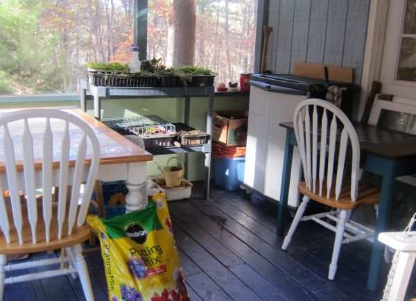 A work station was set up on the porch.