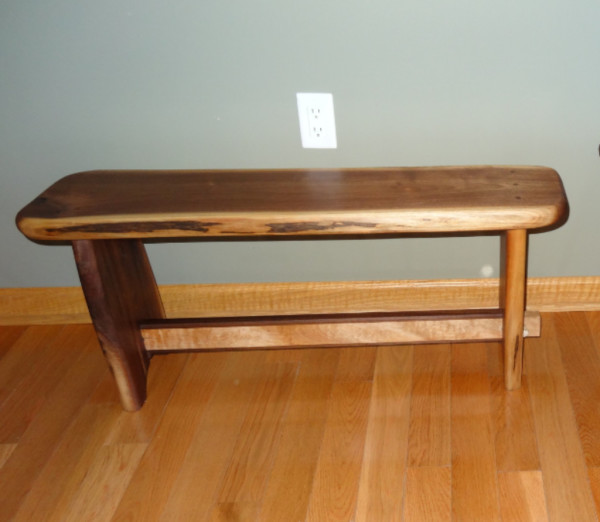 Walnut Slab Bench with Maple