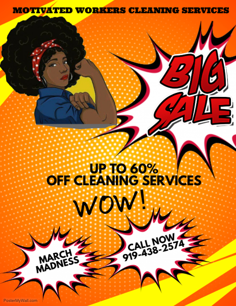 Motivated Workers Cleaning Service March Madness Sale
