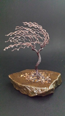 6.5 inch  Copper Windswept Tree. $85