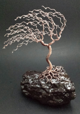 9 inch copper tree on sand stone $85