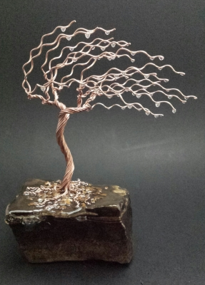 8.5 inch copper tree on lime stone $75