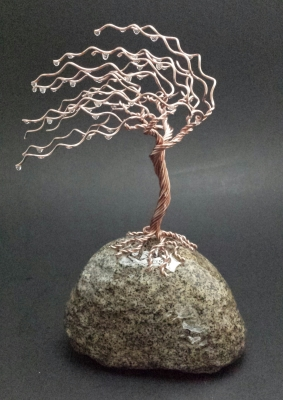 8.5 inch copper wend swept tree on river rock. $75