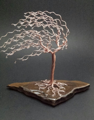 7 inch copper tree on sandstone $75