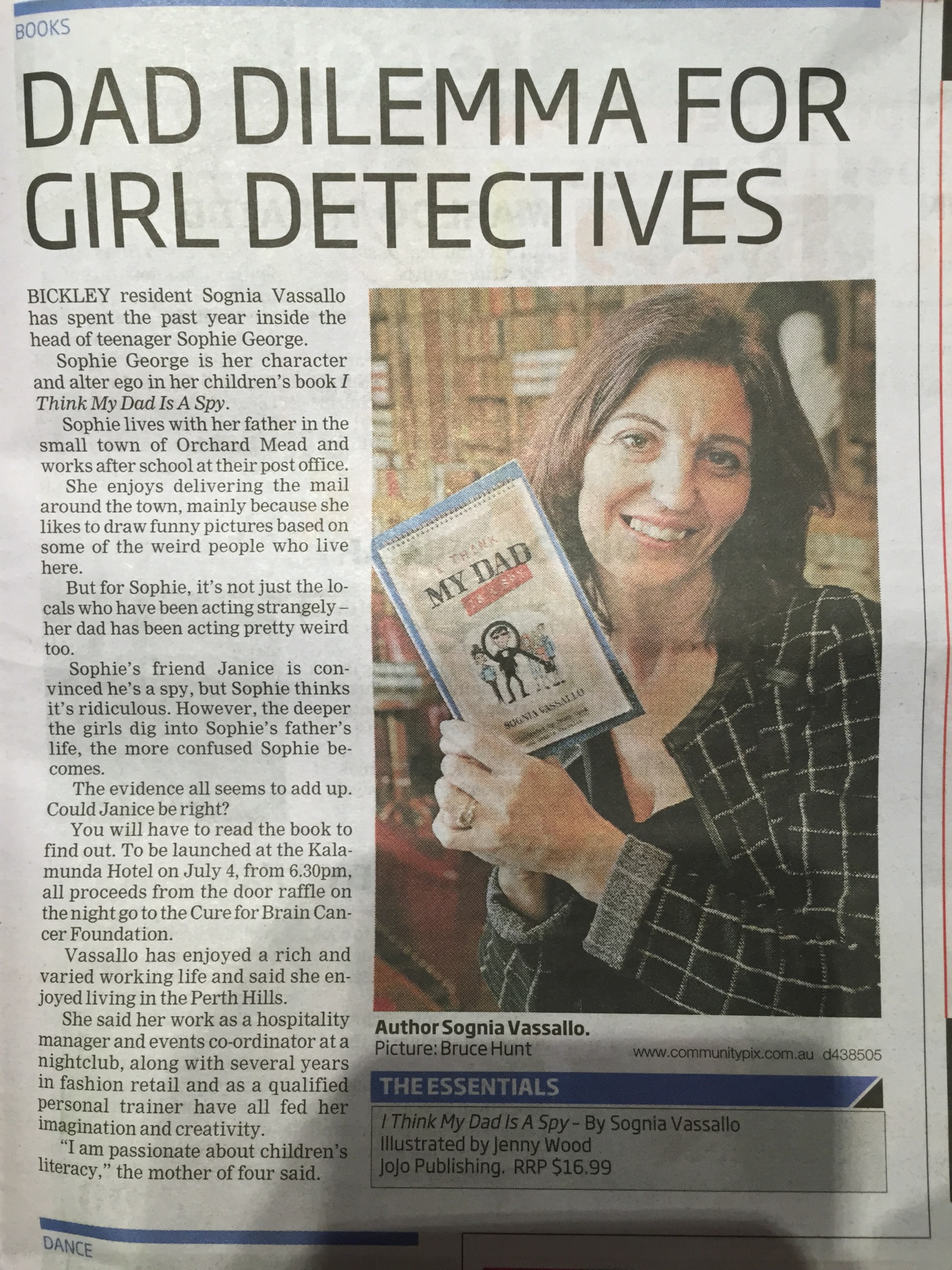Author, I Think my Dad is a Spy, News paper, Article Kalamunda Echo,