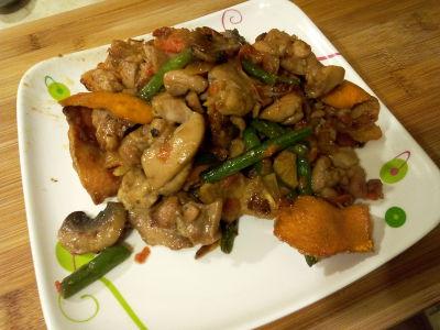 orange chicken and string bean dish
