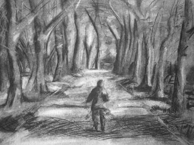 charcoal drawing, walkway, path
