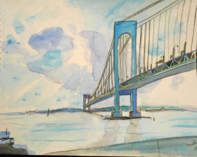 watercolor, bridge