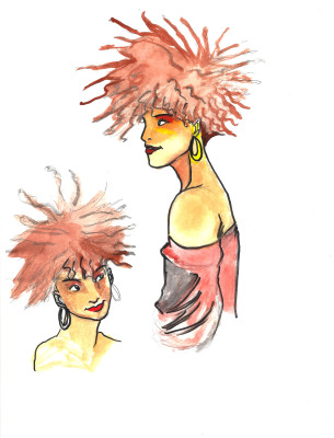 sketch, afro, model