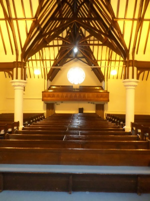 View from Pulpit to rear of church taking beams and balcony