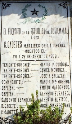 April 20 1908: cadet Víctor M. Vega assassination attempt on Manuel Estrada Cabrera